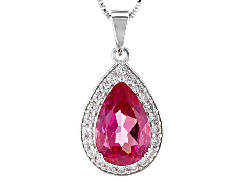 Pink Lab Created Padparadscha Sapphire Silver Pendant With Chain 3.56ctw