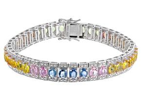 Multi-Sapphire Sterling Silver Bracelet 19.35ctw