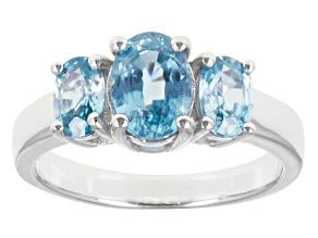 Blue Zircon Sterling Silver 3-Stone Ring 2.92ctw.