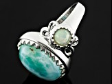 Blue Larimar And Ethiopian Opal Sterling Silver Ring .62ctw.