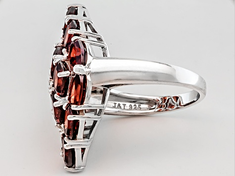 Red Garnet Rhodium Over Sterling Silver Ring 9.55ctw.