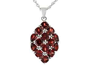 Red Garnet Rhodium Over Sterling Silver Pendant With Chain 9.55ctw.