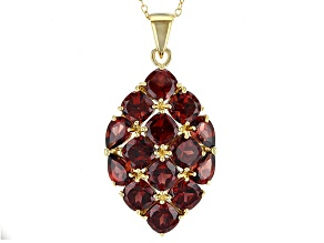 Red Garnet 18k Gold Over Silver Pendant With Chain 9.55ctw