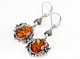 Orange Amber Sterling Silver Dangle Earrings