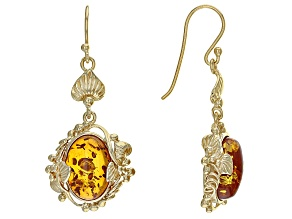 Orange Polish Amber 18k Yellow Gold Over Sterling Silver Solitaire Earrings