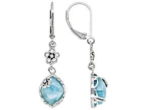 Blue Larimar Sterling Silver Dangle Earrings.