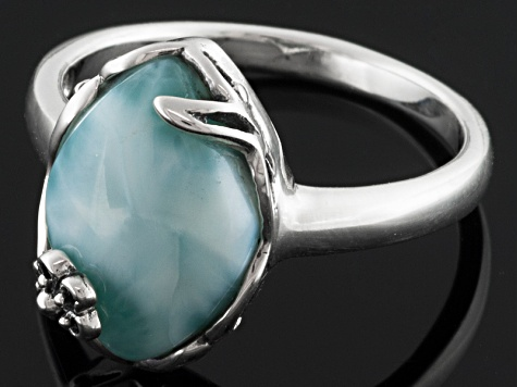 Blue Larimar Sterling Silver Ring.