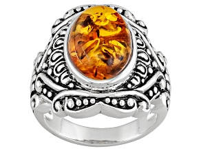 Orange Amber Sterling Silver Ring