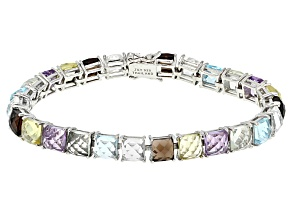 Multi-Gem Sterling Silver Bracelet 29.98ctw