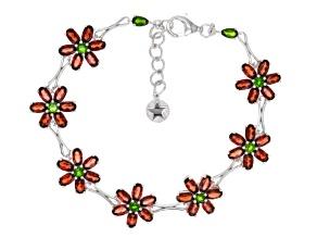 Red Garnet Sterling Silver Floral Bracelet 13.49ctw.