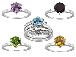 Women Ring Set Green Peridot Citrine Amethyst Topaz Red Garnet Sterling Silver