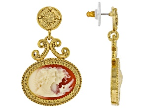 Resin Gold-Tone Cameo Twin Muse Drop Earrings