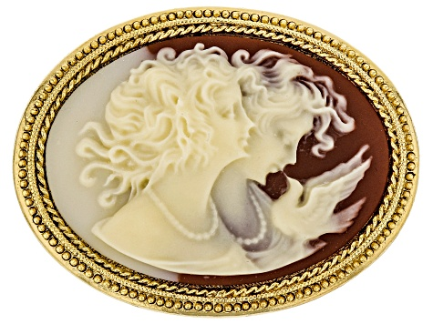 Resin Gold-Tone Cameo Twin Muse Brooch