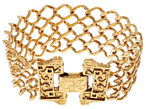 Gold-Tone Interlaced Link Chain Bracelet