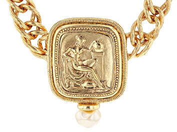 Picture of White Pearl Simulant Gold-Tone Classical Goddess Link Necklace