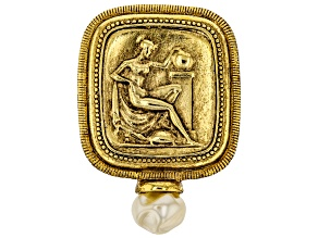 White Pearl Simulant Gold-Tone Classical Goddess Pin/Pendant