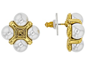White Pearl Simulant Gold-Tone Button Earrings