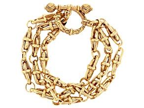 Gold-Tone Three Tier Chain Bracelet