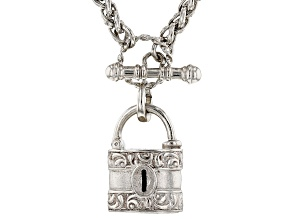 Silver-Tone Burgess Chest lock Necklace