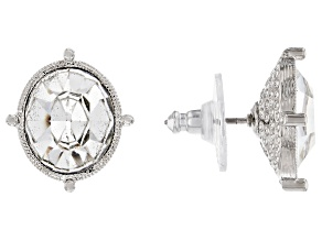 White Swarovski Elements™ Silver-Tone Stud Earrings