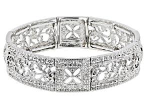 Crystal Silver-Tone Stretch Bracelet