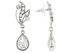 White Swarovski Elements™ Silver-Tone Vine Teardrop Earrings