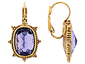 Purple Swarovski Elements™ Gold-Tone Drop Earrings