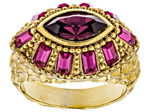 Purple Swarovski Elements™ Gold-Tone Dome Ring