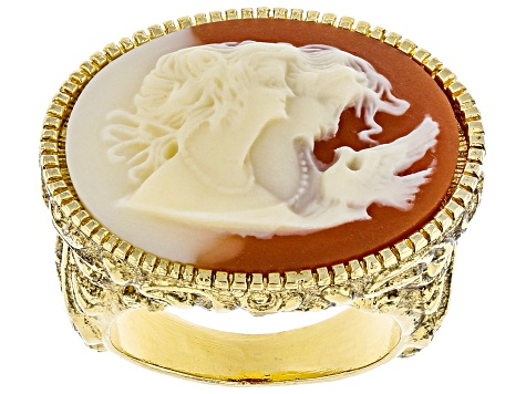 Resin Gold-Tone Cameo Twin Muse Ring