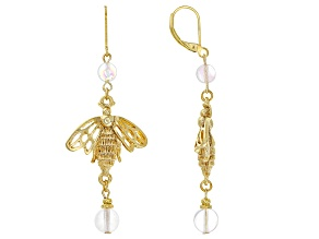 Glass Bead Gold-Tone Aurora Borealis Bee Earrings