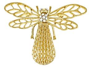 Crystal Gold-Tone Aurora Borealis Bee Brooch