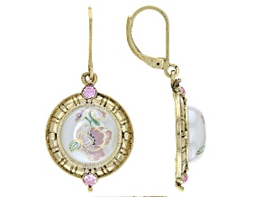 Acrylic & Swarovski Elements™ Crystal Gold-Tone Earrings