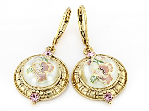 Acrylic & Swarovski Elements™ Crystal Gold-Tone Earrings
