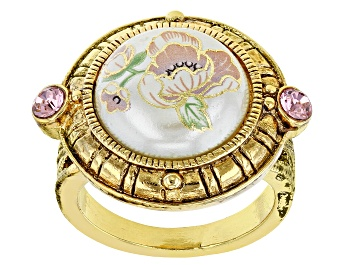 Picture of Pearl Simulant & Crystal Gold-Tone Ring