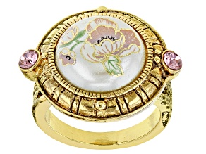 Pearl Simulant & Crystal Gold-Tone Ring