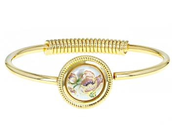 Picture of Pearl Simulant Gold-Tone Floral Design Bracelet