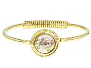 Pearl Simulant Gold-Tone Floral Design Bracelet