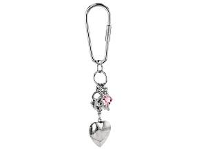 Rose Swarovski Elements™ Silver-Tone Locket Key Chain