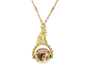 Acrylic Triple Stone Gold-Tone Cat Spinner Necklace