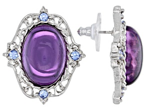 Crystal & Glass Accents Silver-Tone Button Earrings