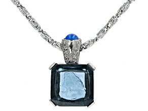 Square Blue Crystal Silver-Tone Pendant With Chain