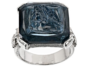 Square Blue Crystal Silver-Tone Ring