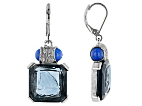 Square Blue Crystal Silver-Tone Earrings