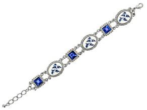 Blue Willow Porcelain Silver-Tone Bracelet
