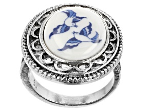 Blue Willow Porcelain Silver-Tone Ring
