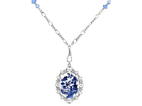 Blue Willow Porcelain Silver- Tone Pendant With Chain