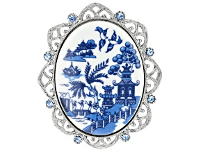 Blue Willow Porcelain Silver-Tone Brooch