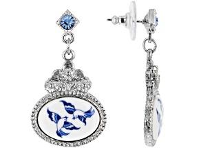 Blue Willow Porcelain Silver-Tone Earrings