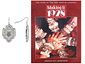 Freeform Silver-Tone Earrings With Making It 1928 Book