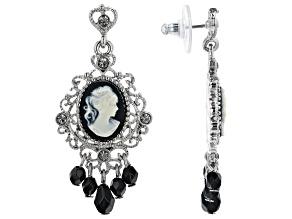 Black & White Resin Silver- Tone Cameo Earrings